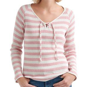 Lucky Brand Striped Pink and White Long Sleeve Tee